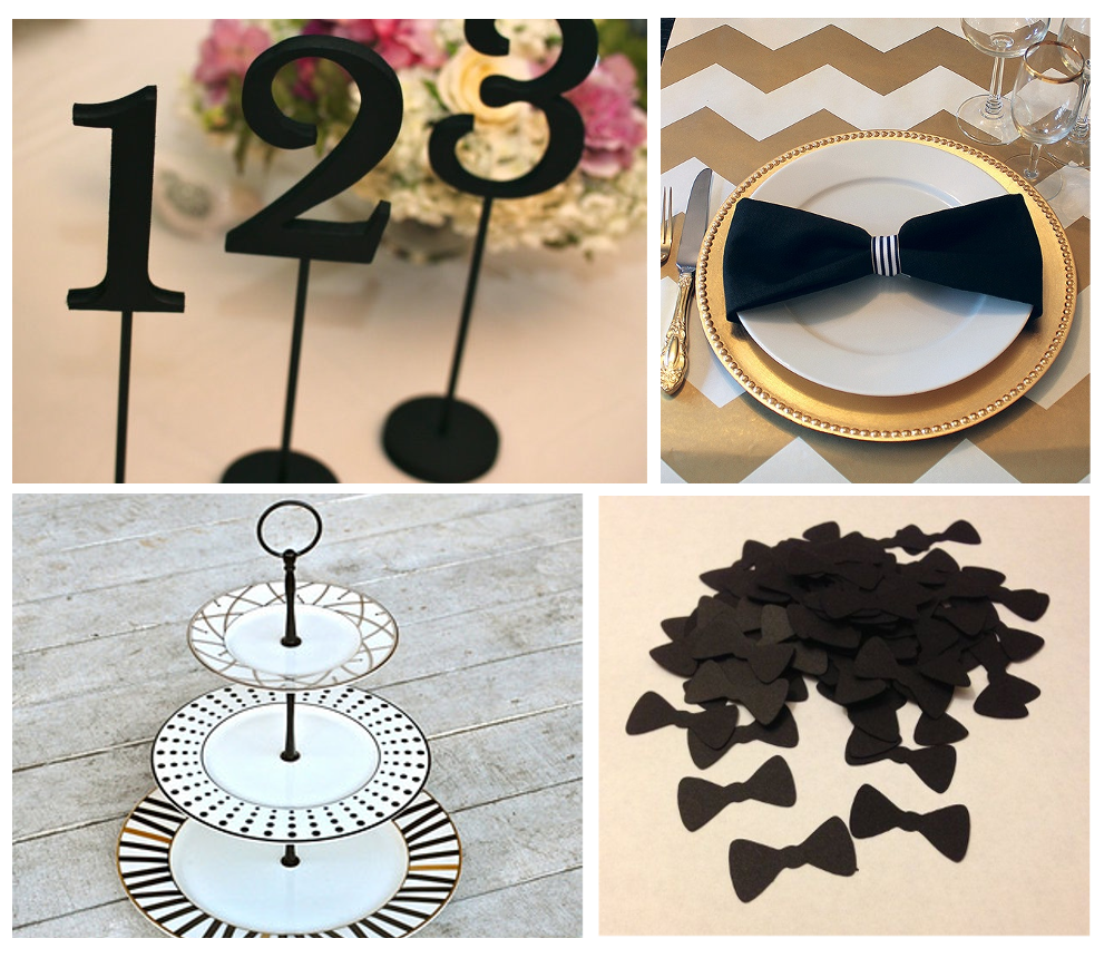 black tie table decor