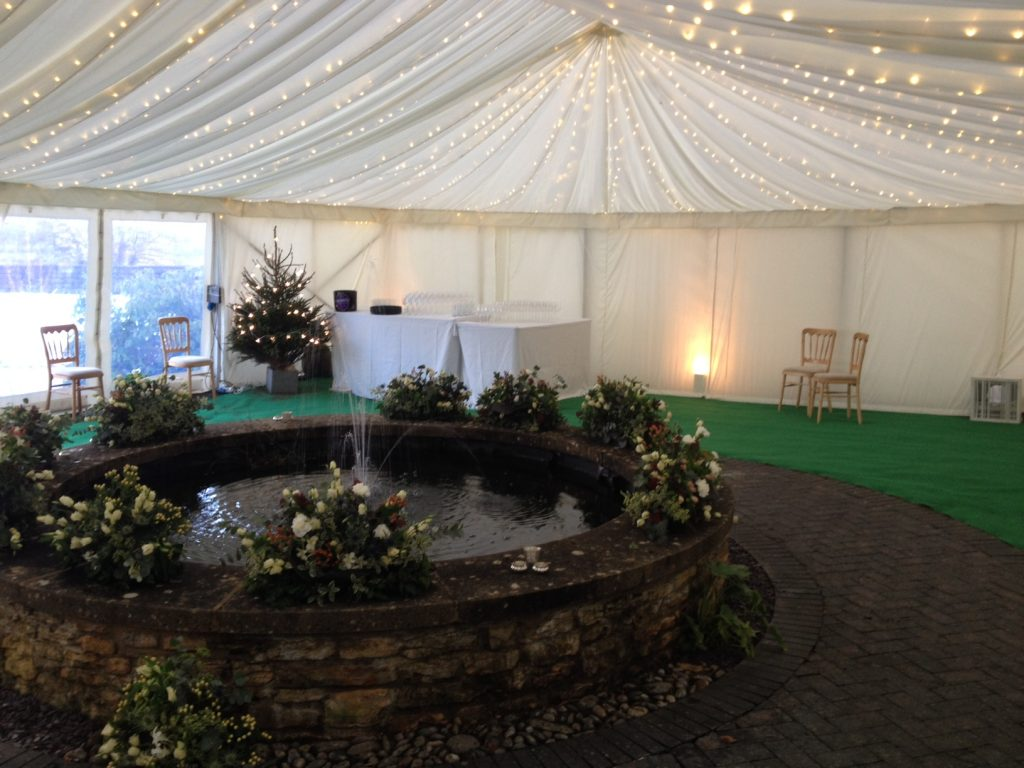 Gloucestershire Marquee over pond