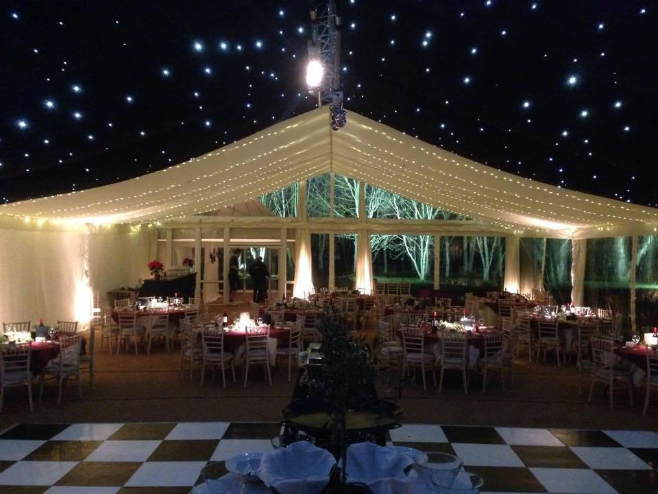 Internal clear gable of marquee
